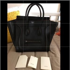 Authentic Celine mini luggage Black w/ red piping